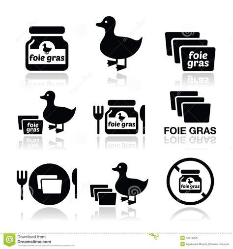 cuisine foie gras foie gras duck or goose icons set stock illustration