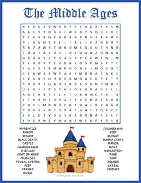 printable word search middle ages the world s catalog of ideas