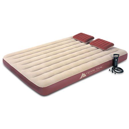 king size air mattress walmart ozark trail king size velour top air bed with pillows