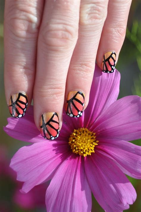 monarch butterfly nails   paint  animal nail