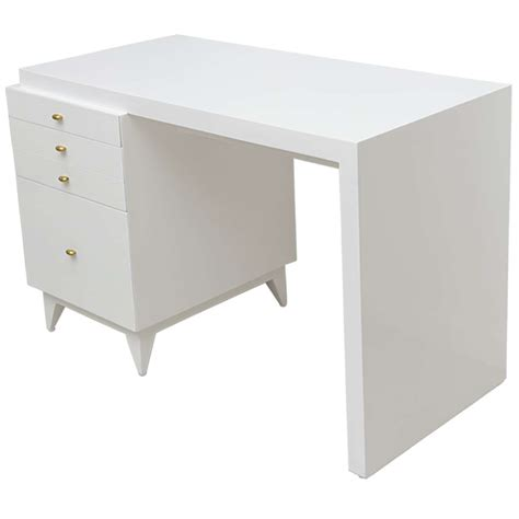 White Lacquer Desk by Mid Century Modern White Lacquer Desk