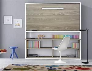 Lit Dans Armoire : armoire lit spacio avec bureau couchage 90 190 20 cm ~ Premium-room.com Idées de Décoration