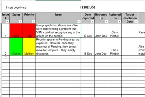 Provide A Project Issue Log In Excel By Weller34