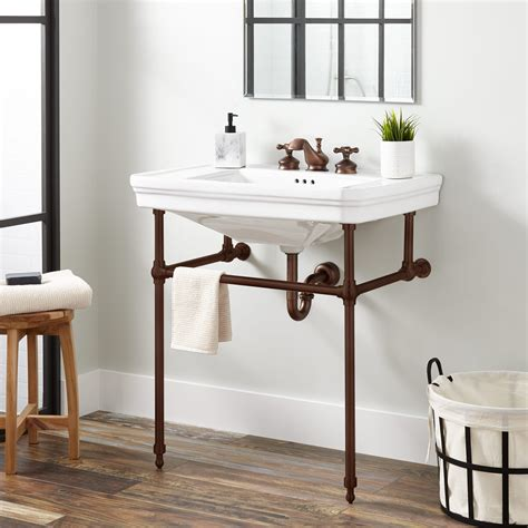 mason porcelain console sink  brass stand bathroom