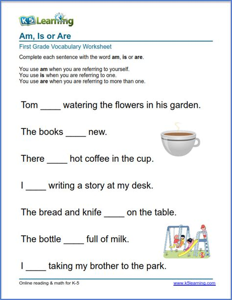 grade 1 vocabulary worksheet use of am is or are k5