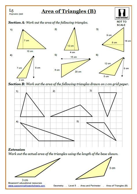 area worksheets ks3 perimeter area worksheets area of triangles