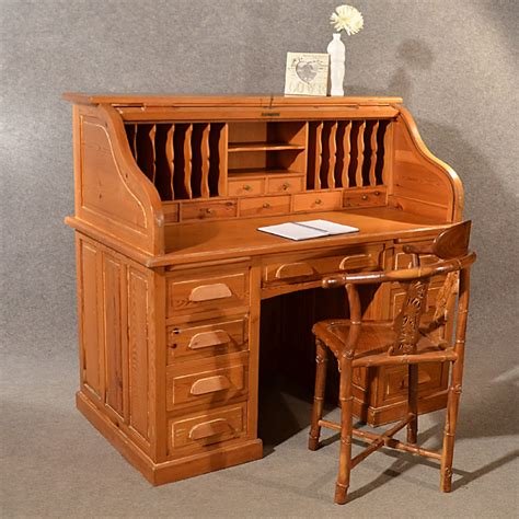 bureau large antique rolltop bureau pine roll top tambour desk large