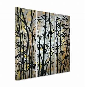 Bamboo shoots by megan duncanson painted steel wall art for Bamboo wall art
