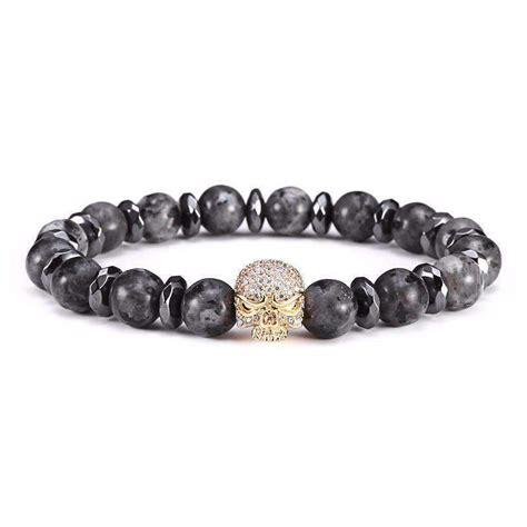 skull bracelet with natural black labradorite 4