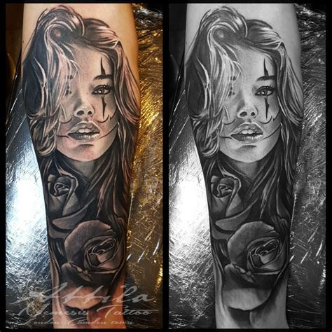 clown face girl  rose tattoo tattoos girl face