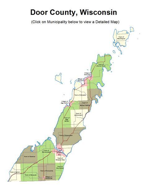 map of door county wi door county municipal maps