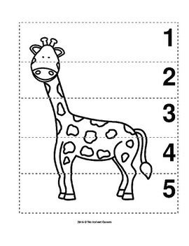 number sequence   preschool bw picture puzzle giraffe