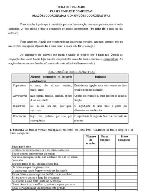 Ficha De Trabalho Frases Simples E Complexas