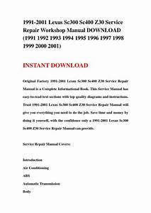 1991 2001 Lexus Sc300 Sc400 Z30 Service Repair Workshop