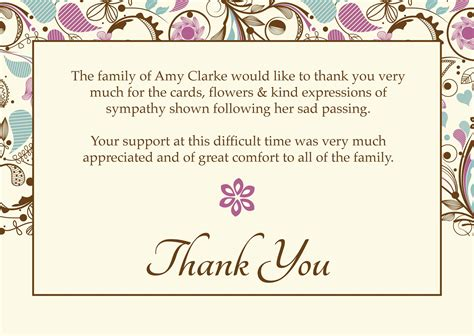 template card for funeral flowers free funeral thank you cards templates ideas quot worth