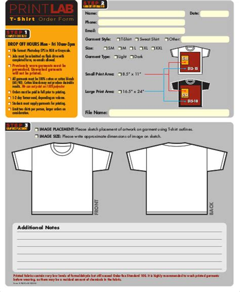 sample shirt order form  examples  word