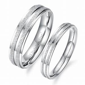 crystal couple engagement rings for lovers silver With stainless steel wedding rings for men
