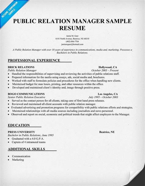 public relations sample resume public relation manager resume sample pr resume