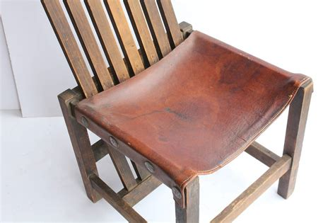 antique leather and oak accent chair for sale at 1stdibs