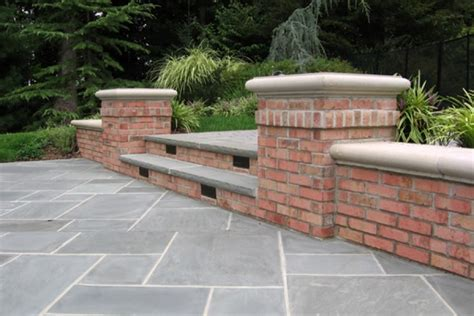 natural stone patio wall design  pools landscaping nj
