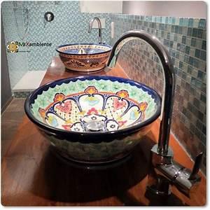 Bemalte Keramik Waschbecken : originelle ausgefallene waschbecken mexambiente mexikanische waschbecken bunte fliesen ~ Markanthonyermac.com Haus und Dekorationen