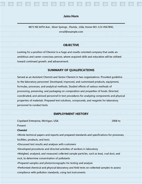 professional chemist resume sles for ms word doc