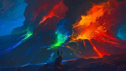 Lava Volcano Painting Smoke Digital Colourfull Backgrounds