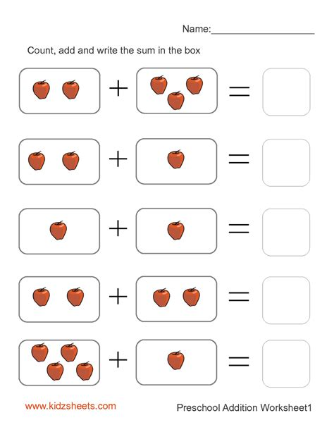 kidz worksheets preschool addition worksheet1