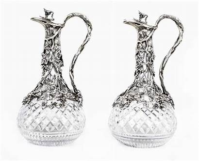 Cut Glass Pair Antique Decanters Claret Jugs