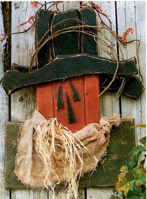 Primitive Wood Pattern Scarecrow Fall Pumpkin Head Rustic