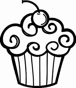 Best HD Birthday Cupcake Clip Outline Clipart File Free