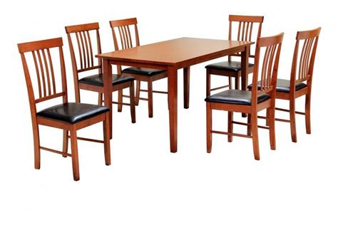 mahogany wooden dining table and 6 chairs homegenies