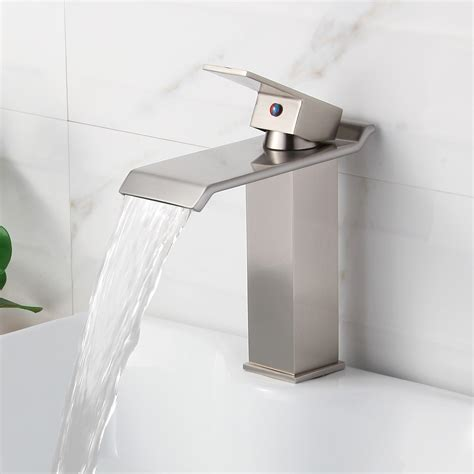 elite bn brushed nickel finish waterfall design single