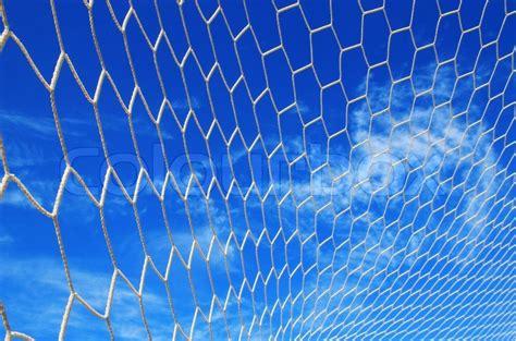 white net football soccer blue blue sky background