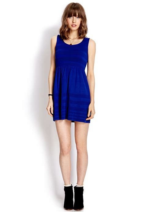 forever 21 sweater dress forever 21 fit flare sweater dress in blue lyst