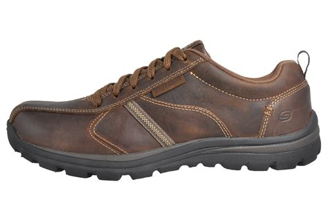 Skechers Levoy Memory Foam Mens Casual Leather Shoes Brown
