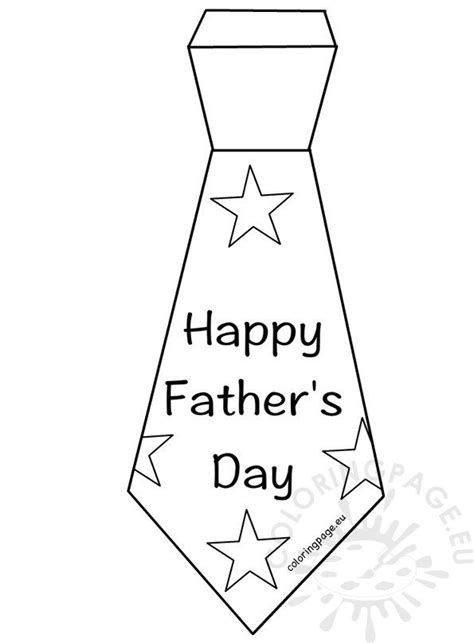 happy fathers day tie template coloring page