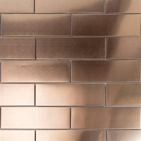 stainless steel tile shop 12 pc set metal subway tiles in matte copper