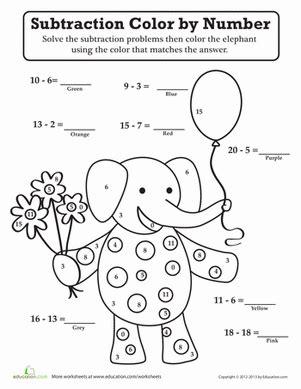 subtraction color  number worksheet educationcom