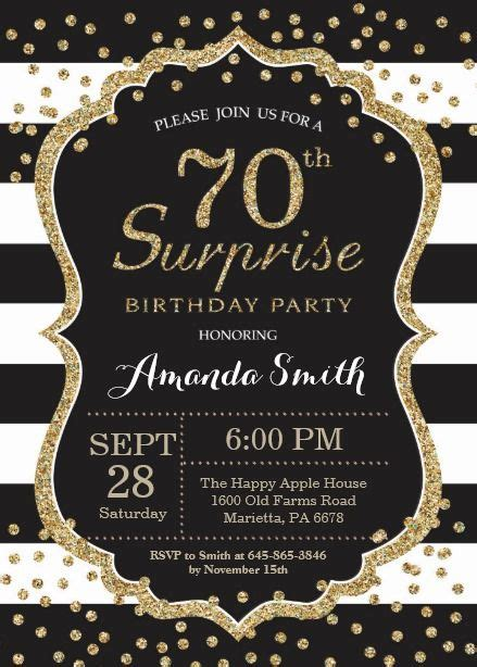 Surprise 70th Birthday Invitation Gold Glitter Card