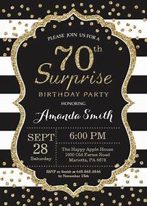 Dinner Party Invitation Card Surprise 70th Birthday Invitation Gold Glitter Card