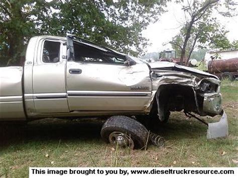 dads wrecked truck dodge diesel diesel truck