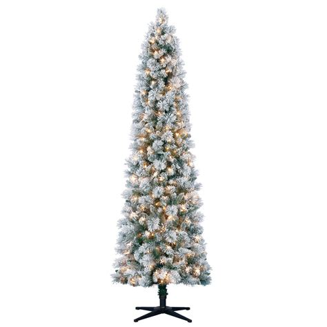pencil trees christmas by ashland 7 ft pre lit mixed flocked slim artificial tree clear lights by ashland