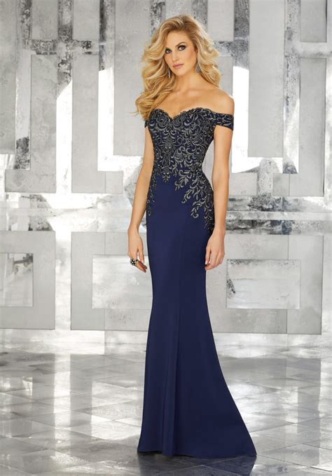 form fitting special occasion gown  beaded embroidery