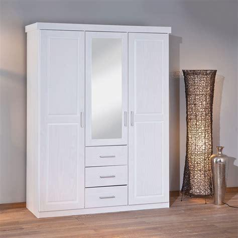 Massivholzkleiderschrank In Weiß Mit Spiegel Genf