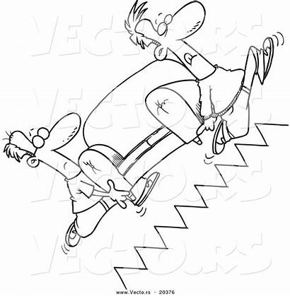 Coloring Stairs Sofa Cartoon Outline Movers Carrying