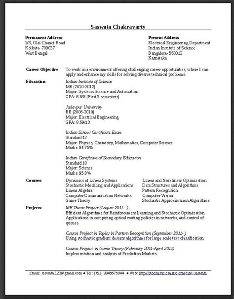 sample resume  fresh graduate engineering  http