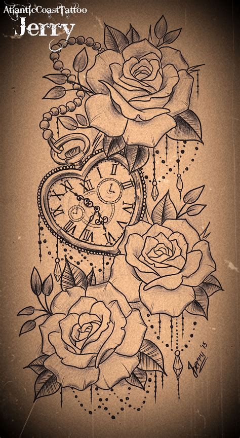 heart shaped pocket   roses tattoo design