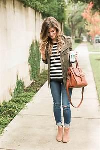 Simple u0026 Cute Fall Outfit Idea - Stripes + Cognac + Green Military Jacket
