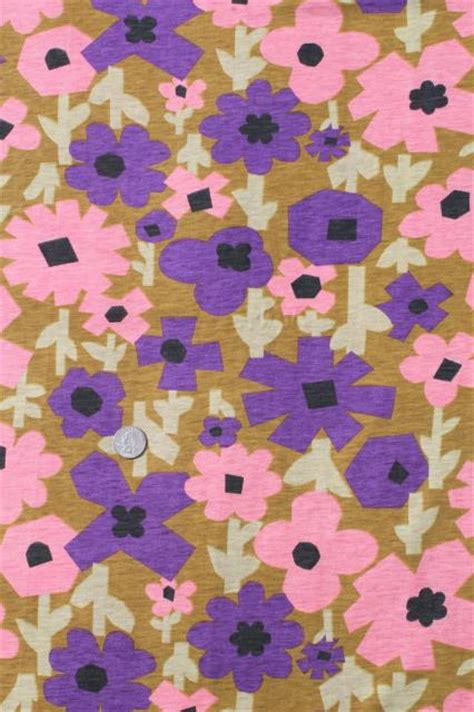 mod vintage retro flower print cotton poly jersey knit fabric